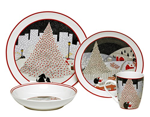 Christmas Dishes - Melange Rouge Christmas Ceramic 16-Piece Place Setting, White, Serving for 4