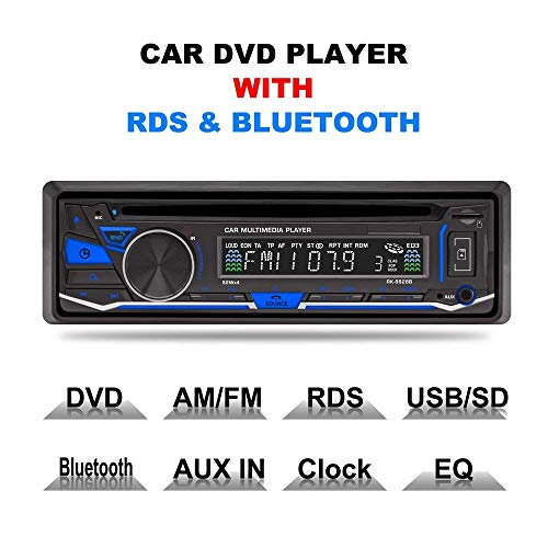 LSLYA(TM) 1 DIN 12V Car Stereo DVD/CD/Bluetooth Player Radio MP3/USB/SD/TF/AUX/FM/AM/RDS Support Remote by LSLYA