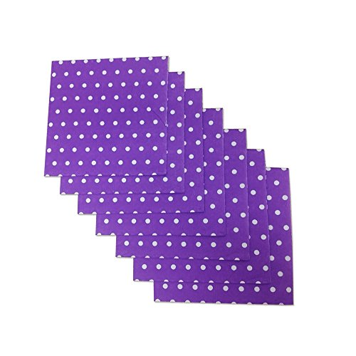 Purple and White Polka Dot Party Napkins, 40 Count, 6.5