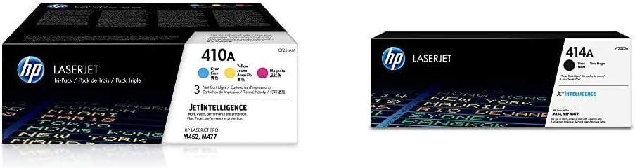 HP 410A | CF411A, CF412A, CF413A | 3 Toner Cartridges | Cyan, Yellow, Magenta & 414A | W2020A | Toner Cartridge | Black