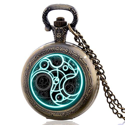 Glorio Antique Space Time Vintage Pocket Watch Charm Pendant Necklace Prop Men Women Gift Pendant Quartz Necklace Chain Retro