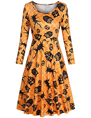 Pumpkin Dress,SUNGLORY Women's Halloween Costume Pumpkin Owl Print Dress Fancy Party Dress Yellow Owl (Cool Costumes Halloween 2017)