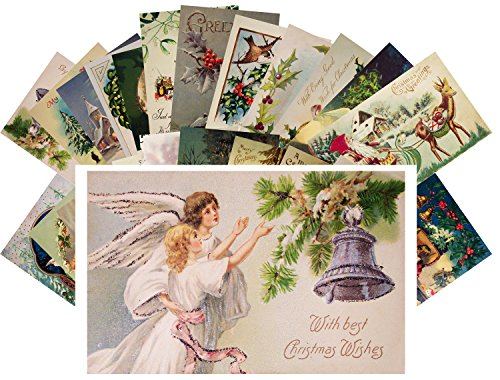 Vintage Christmas Greeting Cards 24pcs Antique Christmas Wishes Angels Santa REPRINT Postcard Set