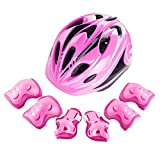 Easy Living Kids Helmet and Knee Pads Elbow Wrist Guard Sport Protective Gear for Cycling Skating Skiing Adjustable for Children 5 to 12 Years Old (Pink)