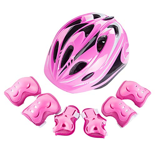 met and Knee Pads Elbow Wrist Guard Sport Protective Gear for Cycling Skating Skiing Adjustable for Children 5 to 12 Years Old (Pink) ()
