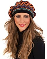 WOMENS LUXURY KNITTED WOOL GEOMETRIC TRIANGLE DESIGN BERET HAT + SNOOD SCARF + GLOVES MATCHING SET WINTER XMAS GIFT LADIES ONE SIZE