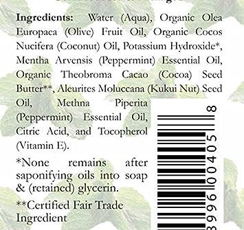 Organic Peppermint Castile Soap Liquid – 1 Gallon – Carolina Castile – Great for Peppermint Body Wash Peppermint Shampoo