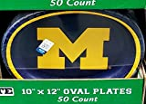 Performa NCAA University of Michigan Wolverines Paper Platters (10'' x 12'', 50 ct.)