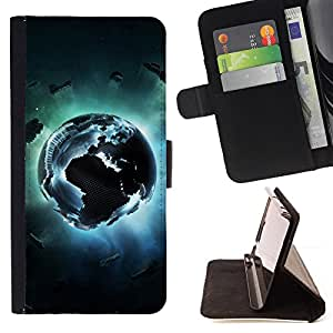For Sony Xperia Z3 Plus / Z3+ / Sony E6553 (Not Z3),S-type Tierra Pixel- Dibujo PU billetera de cuero Funda Case Caso de la piel de la bolsa protectora