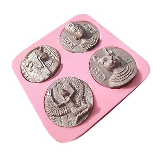 (Jili Online Ancient Coins Cake Fondant Mould Pastry Chocolate Silicone Mold Ice Bake DIY)