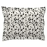 Roostery Arrow Standard Flanged Pillow Sham Arrows Scattered // Black and White Black and Cream Minimal Arrows Southwest Tribal Print by Andrea Lauren Natural Cotton Sateen Made