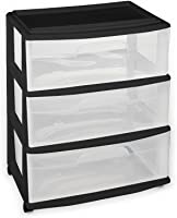 HOMZ Plastic 3 Drawer Wide Cart White Frame Clear Drawers 4 Casters Included  sc 1 st  Amazon.com : storage rolling carts  - Aquiesqueretaro.Com