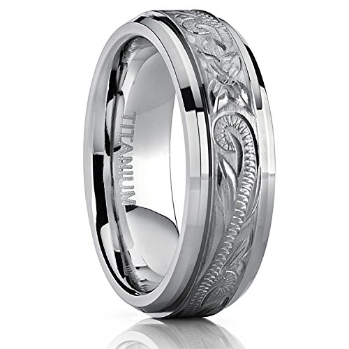 Hand Engraved Wedding Band - Metal Masters Co. Men's Women's Hand Engraved Titanium Wedding Ring Unisex Band, Comfort Fit 7mm Size 10
