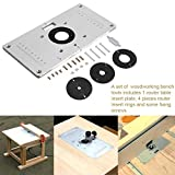 Zerodis 9.3''x4.7''x 0.3'' Aluminum Router Table Insert Plate with 4 Rings and Screws for Woodworking Benches