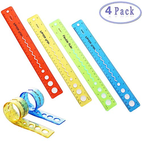 Xstar 4 Pack Thick Durable Transparent 12 inch Rulers Shatterproof Plastic Ruler Straight Ruler Math Rulers Soft 12
