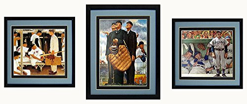 Norman Rockwell Baseball Posters Framed A+ - Sox Glass Art