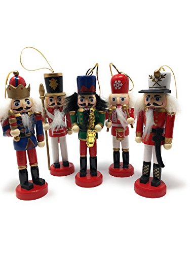 Johnathan Christmas Nutcracker Soldiers - Wooden Nutcracker Ornament Set, Set of 5 Festive Nutcracker Figures