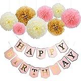 Mudder Feliz cumpleaños Banner Papel de seda pompones Flor para Decoración de Fiesta de cumpleaños