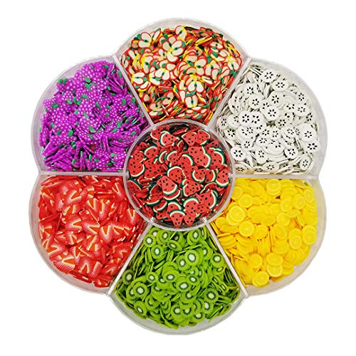 Assorted Fruit Slices 90g Fimo Wheel - Slime Supplies/Slime Acessories/Slime Add ins/Polymer Clay/Nail Art Kit Maker Ingredients Set Bulk Homemade Variety for Kids