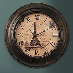 VV 34,29 cm H French Retro reloj de pared metálico