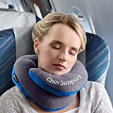 BCOZZY Chin Supporting Travel Pillow - Supports the Head, Neck and Chin in Maximum Comfort in Any Sitting Position. A Patented Product. (ADULT, GRAY)