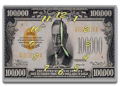 Woodrow Wilson Customized Money Clock US Series 1934 100,000 Dollar Gold Certificate Bill 8 x 12 clock Largest and rarest bill ever produced ()