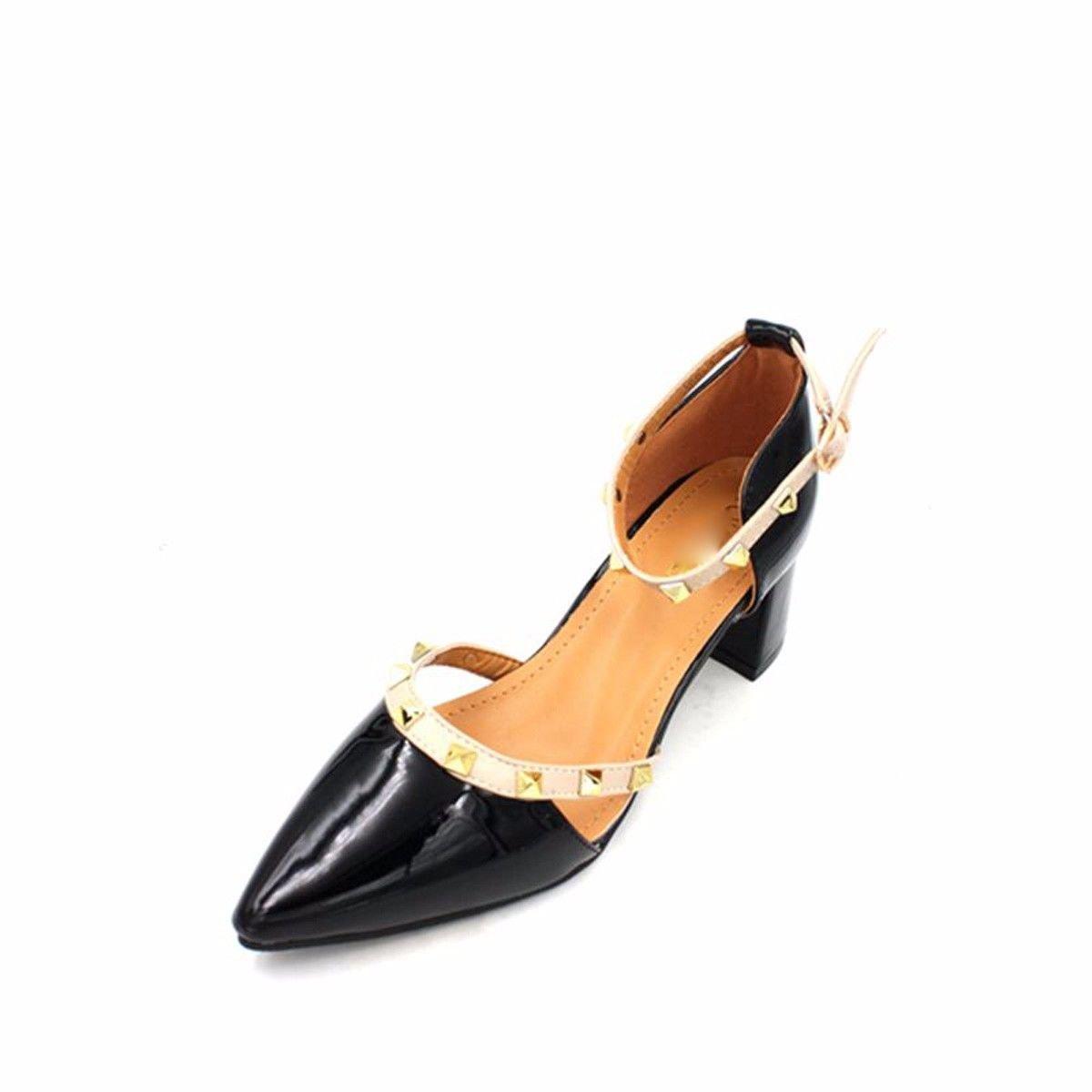GTVERNH Frühling Flache Lack Hell Mittlere Ferse Schuhe Flache Frühling Spitze Hohl Damenschuhe. Apricot color 183a7c