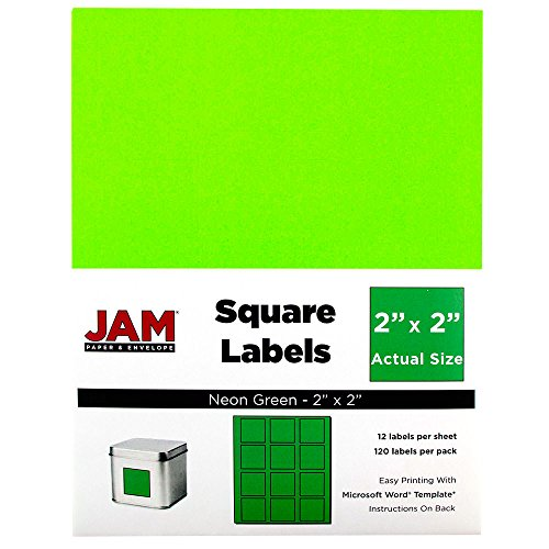 JAM PAPER Product & Container Labels - Square - 2 x 2 - Neon Green - - Sage Sharps Containers