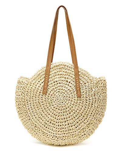 Womens Large Straw Beach Tote Bag Hobo Summer Handwoven Bags Purse wth Pom Poms (B-Beige)