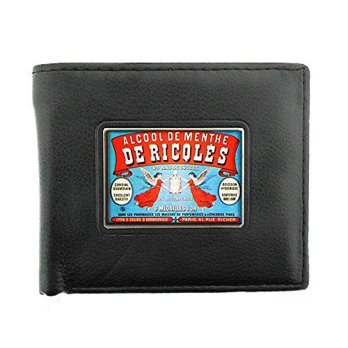 Black Bifold Leather Material Wallet D-089 Alcool De Menthe De Ricqles 43 Ans De Succes Paris (De Paris Succes)