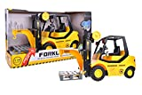 Kid's Forklift Toy Friction Powered Educational Little Machine Shop Car Truck Vehicle Imagination Boy's Gift 1:16 With Light and Music Batteries Included