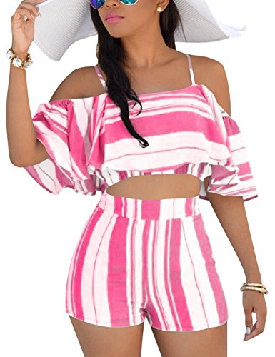 (Women's 2 Pcs Floral Print Bohemian Crop Tops + Shorts Set Two Piece Outfit Suit Pink)