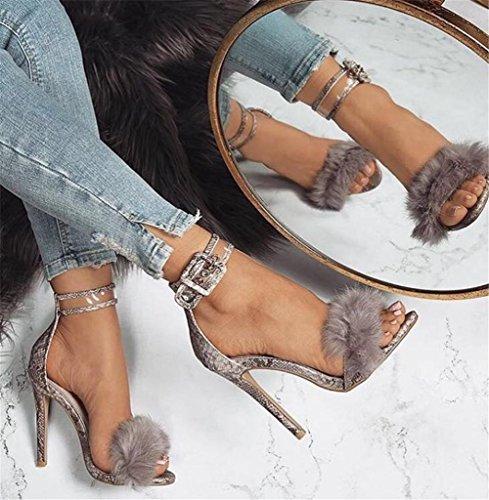 6 Stiletto Sandali Eur Fibbia Dito 5 Uk Scarpe Festa Discoteca Serpentina Caviglia Sbirciare Tacco 6 39 Sexy Cinghia Nero Del Piede Vestito Alto Donna EU51w1