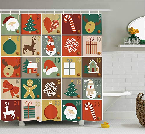 - Ambesonne Christmas Shower Curtain Funny Christmas Bathroom Decorations by, Holiday Season Patterns with Santa Rudolf The Reindeer Gingerbread Man Candy Cane Snowflakes Snowman Xmas Tree, Multi