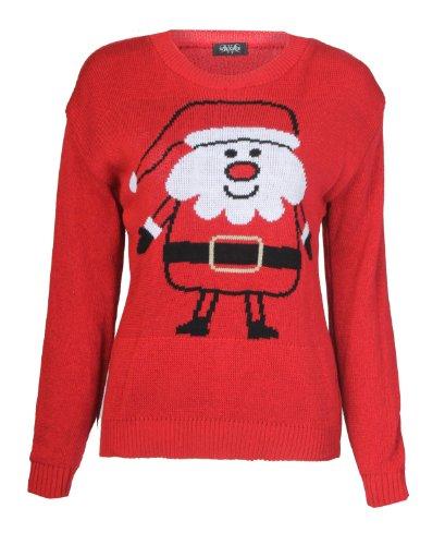 Fast Fashion - Cavalier Père Noël Impression - Femme (EUR (40-42), Rouge)