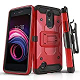 Phone Case for [LG Rebel 4 LTE (L212VL, L211BL)], [Tank Series][Red] Shockproof Cover with [Kickstand] & [Holster] for LG Rebel 4 LTE (Tracfone, Simple Mobile, Straight Talk, Total Wireless)