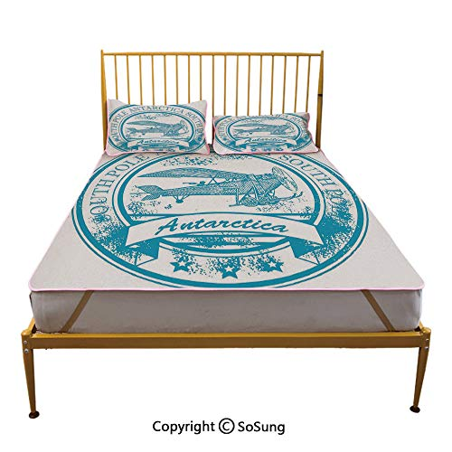 Vintage Airplane Decor Creative Full Size Summer Cool Mat,South Pole Antarctica Words on Retro Blue Stamp Grunge Airplane Decorative Sleeping & Play Cool Mat,Sky Blue White ()