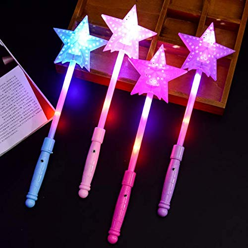 Auch 4 PCS LED Star Liht Up Wand Toy Fairy Wand Glow Sticks Handhelds Luminous Toy, Ramdon Colors ()