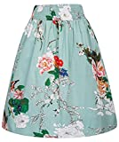 Kate Kasin Women's Vintage Retro Skirt Elastic Waist Floral Print A-Line Skirt