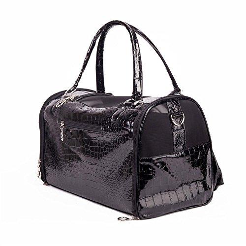 Fashion Dog Carrier PU Leather Dog Handbag Dog Purse Cat Tote Bag Pet Cat Dog Hiking Bag Travel bag (S, Black)