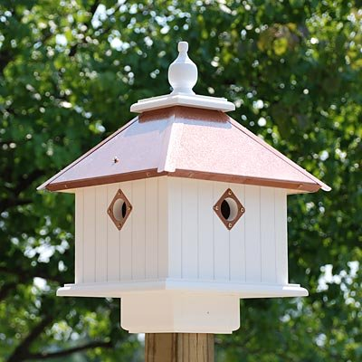 Wing & A Prayer Carriage Bird House, Hammered Copper Colored Roof