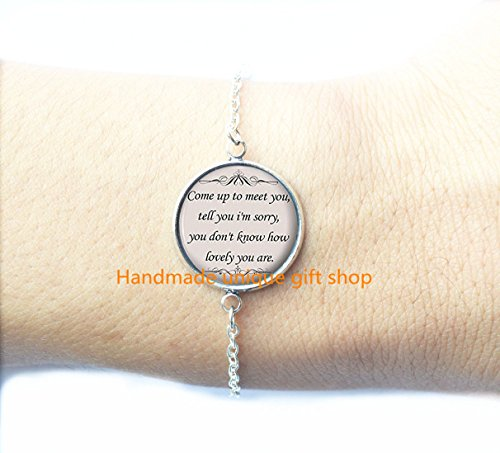 Dainty Bracelet, Simple Bracelet,Song Lyrics Quote - Romantic Music Bracelet - Silver Cute Jewelry Gift for Women and -RC056 ()