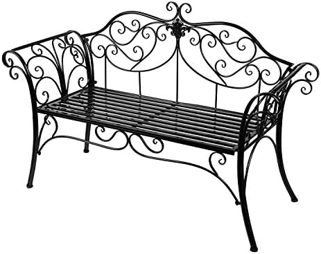 Tremendous Antique Black Metal Garden Bench Chair 2 Seater For Garden Yard Patio Porch And Sunroom Beatyapartments Chair Design Images Beatyapartmentscom