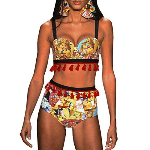 Costume bikini Bikini Giallo Elecenty sexy bagno Donna e bagno balze con da da costume Italily nappe Z6gYqSg5