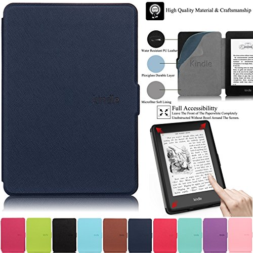Kindle Paperwhite Case,Artyond PU Leather Case With Auto Wake/Sleep Feature Smart Cover Thinnest and Lightest Case For Amazon Kindle Paperwhite (Fits All 2012, 2013, 2015 and 2016 Versions)(darkblue)