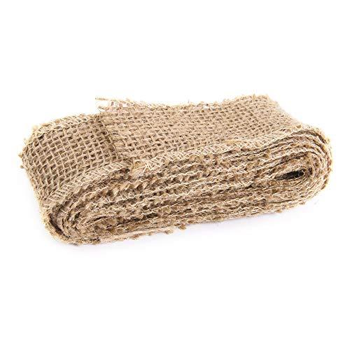 XeminorDIY Natural Jute Burlap Fabric Jute Roll Craft Burlap Ribbon for DIY Handmade Wedding Party Crafts Use 1 Roll 3M by Xeminor (Image #1)