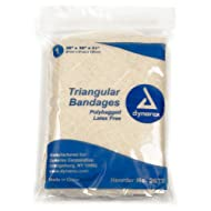 Dynarex Triangular Bandages, Poly-Bagged with 2 Safety Pins, Page of 12