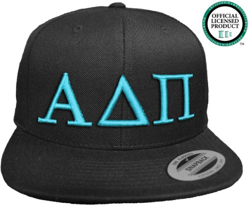 ALPHA DELTA PI Flat Brim Snapback Hat Turquoise Letters / A D Pi | Sorority Cap