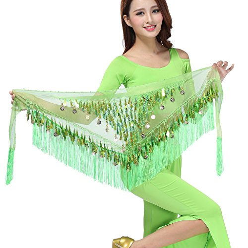 ZLTdream Belly Dance Tassels Triangle Hip Scarf With Coins Sequins Green