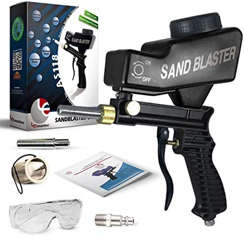 Sand Blaster, Sand Blaster Gun Kit, Sandblaster with 2 Replaceable Tips Quick Connect, Safety Goggles, Filter, Media Guide. Works with All Blasting Abrasives Professional Series AS118-BL